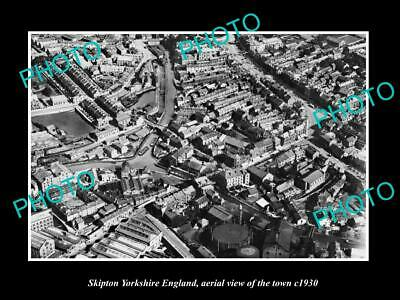 OLD LARGE HISTORIC PHOTO OF SKIPTON YORKSHIRE ENGLAND, VIEW OF THE TOWN c1930 4