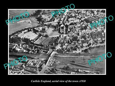 OLD LARGE HISTORIC PHOTO OF CARLISLE ENGLAND, AERIAL VIEW OF THE TOWN c1930 5