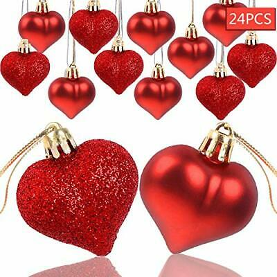 AOPOO Valentine's Heart Baubles Ornament Heart Shaped Ornaments for Glitter Red