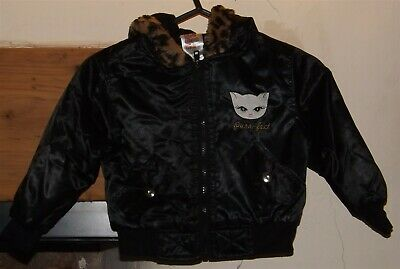 Park Bench Kids, black, fully lined, hooded wet look jacket, age 2T USA
