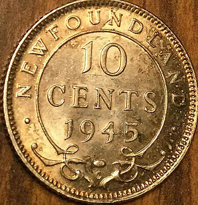 1945 NEWFOUNDLAND SILVER 10 CENTS DIME COIN - Uncirculated