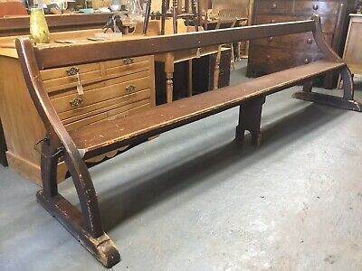 Vintage Antique Gothic Pugin  Church Pew Wooden Dining Bench Settle 10ft Long