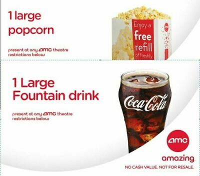 AMC Large Coke/Popcorn Coupons (expires 06/30/20) Online delivery