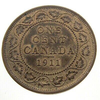 1911 Canada One Cent Large Penny Circulated Copper Canadian George V Coin N254