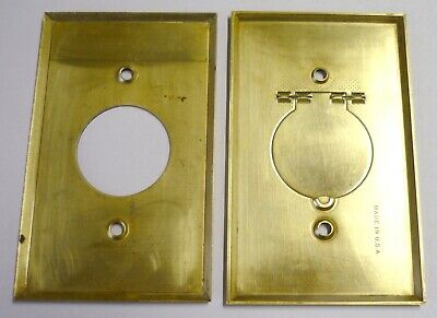 2 Vintage Brass Round Hole Plug Outlet Wall Plate Covers Central Vacuum Inlet