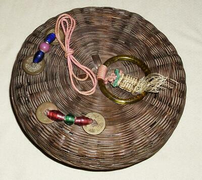 """Vtg Wicker Woven Sewing Basket W.lid Asian Ring Beads Tassels Coins Chinese 6.5"""""""