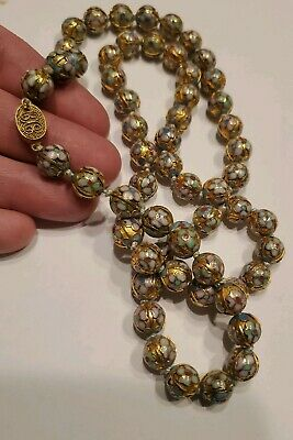 RARE 28in CHINESE CLOISONNE ENAMEL GILT FILIGREE GOLD BEAD NECKLACE Est VINTAGE