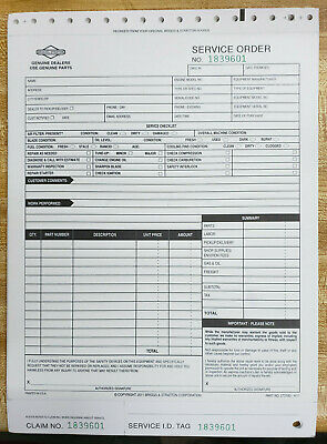 Briggs & Stratton 273180 service repair order form pack of 25