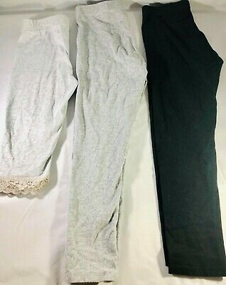 Lot of 3 Faded Glory Cherokee Girls Solid Leggings Capri Super Soft Size 4 5 6x