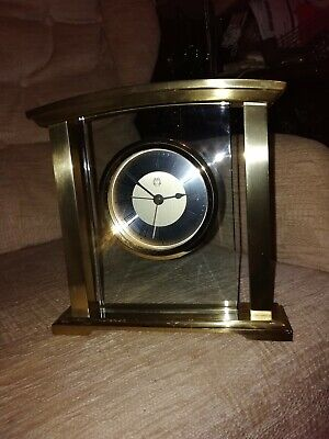 Heavy Brass And Glass Alarm Mantle Clock Bsss3
