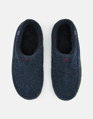 Joules Mens Felt Mule Slip On Slippers With Hard Sole in NAVY MARL