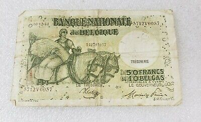 Belgium Banque Nationale 50 Francs 10 Belgas 1944 🇧🇪 Banknote Paper Money WWII