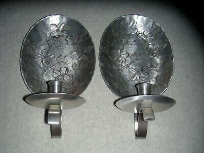 (2) Hand Made Wendell August Forge Aluminum Wall Mount Candle Holder Reflector