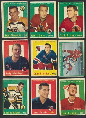 1959-60 Topps NHL Hockey Cards  U-Pick Choose Single Cards to Complete Set
