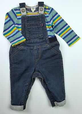 TED BAKER Boys Jersey Lined Denim Dungarees & Bodysuit Outfit 6-9 Months VGC