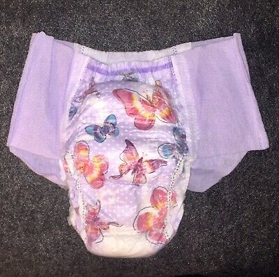 """2 Pair Sample Butterflies Pull Up Underwear Adult Diaper Goodnites Up To 36"""" Hip"""