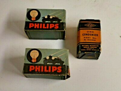 3 Vintage Auto Globe And Condenser Boxes With Contents