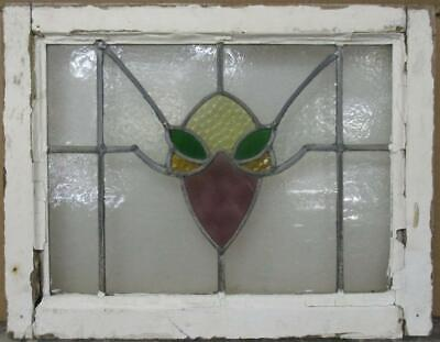 "OLD ENGLISH LEADED STAINED GLASS WINDOW Pretty Abstract Design 21.5"" x 16.75"""