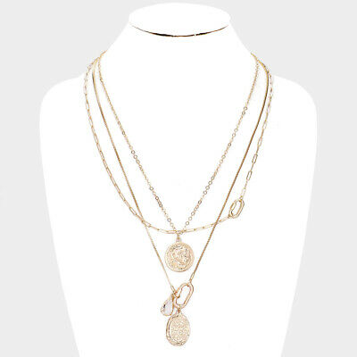 ZARD Designer Inspired Triple Layered Necklace with Cross Pearl Charm Pendant