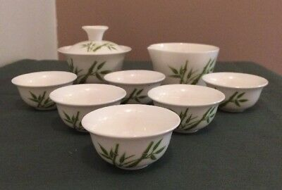 Gong Fu Portable Chinese Porcelain Bamboo Gaiwan Set 8 Tea Dipping Cup Boxed