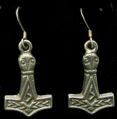Scandinavian Swedish Norwegian Danish Finnish Viking Thor's Hammer Hook Earrings