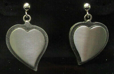 New Scandinavian Swedish Norwegian Danish Finnish Pewter Heart Earrings Tennsmed