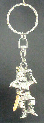 Scandinavian Swedish Norwegian Danish Finnish Pewter Viking With Sword Key Ring