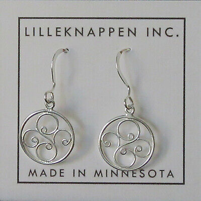 Scandinavian Swedish Norwegian Danish Finnish Sterling Silver Scroll Earrings