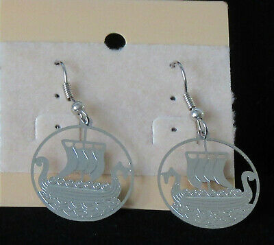 Scandinavian Swedish Norwegian Danish Finnish Round Silver Viking Ship Earrings