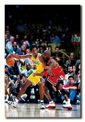 543 Kobe Bryant VS Michael Jordan Basketball Star Poster Fabric 14x21 40 24x36