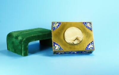 A Fine Antique Chinese Enamel Brass Box Inset With Jade Top