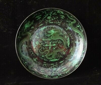 """Gorgeous Chinese Antique Hand Painted Dragons Green Porcelain Plate """"KangXi"""""""