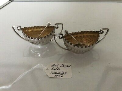 Lovely Pair Of Two Handled Silver Salts Boat Shaped & 2 Spoons (Birmingham 1876)