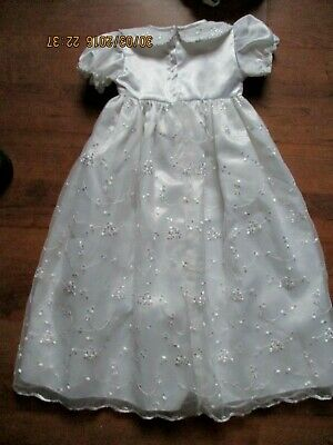 Lynna Stunning White Christening Gown + bonnet  Age 6-12 months