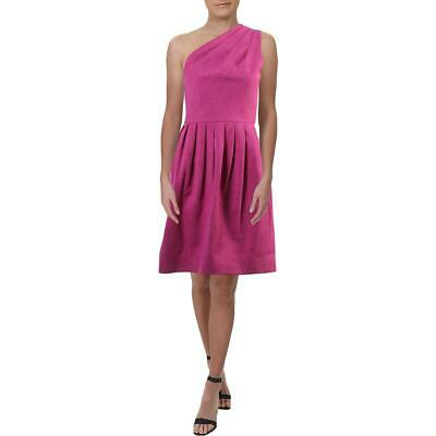 Halston Heritage Womens Pink One Shoulder Pleated Cocktail Dress 4 BHFO 4121