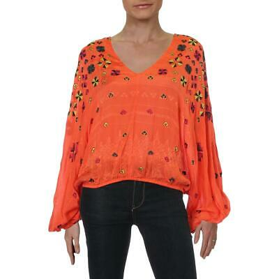 Free People Womens Red Embroidered Blouson Boho Crop Top Shirt S BHFO 9745