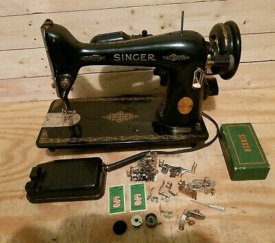 Vintage 1949 Singer Sewing Machine Model 66 with Pedal and Accessories AJ146325