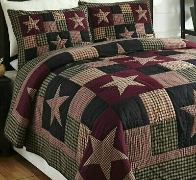 Primitive Star Patchwork Queen Full Quilt Bedding Set