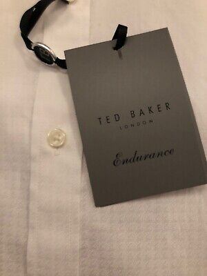 NWT Men's Endurance Dress Shirt by Ted Baker Navy 15 34/35 Slim White