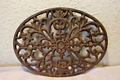 Cast Iron grate vent COVER ornate Victorian wall raised Oval Decor Rustic