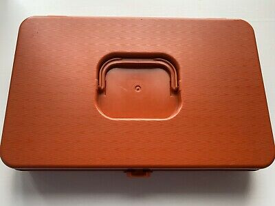 Vintage Wilson Wil-Hold Plastic Sewing Box & Tray For Bobbin Spool Orange Color