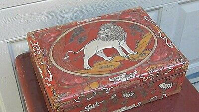 ANTIQUE 19c CHINESE PAINTED,LACQUERED, STORAGE BOX W/LION,BATS,FISH&BUTTERFLIES