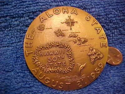 "1959 State of Hawaii Bronze Medal Aloha 50th State 2 1/2"" Medalic Art Box  .beAT"
