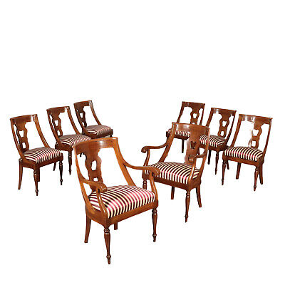 Group of Four Gondola Chairs and Two Armchairs Italy 19th Century