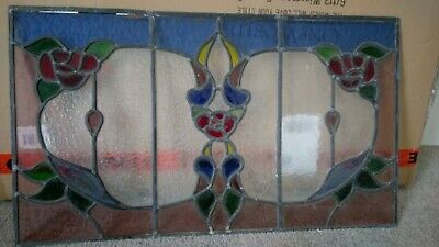 Antique Architectural  Original  Lead Light Stained Glass Window Panel