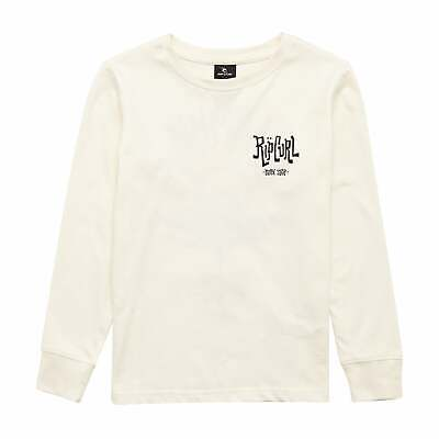 Rip Curl Search Icon Boys T-shirt Long Sleeve - Off White All Sizes
