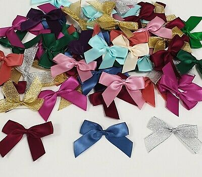 LARGE 5CM Stick On DOUBLE SATIN BOW Pre-Tied Craft Gift Party Ribbon 43 COLOURS