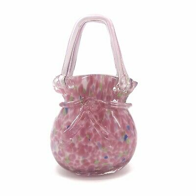 Vintage Murano Style Pink Blown Glass Basket Purse Easter Spring Decor