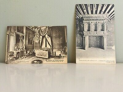 2 Vintage Antique Old French Black & White Postcards Paris Victorian Edwardian