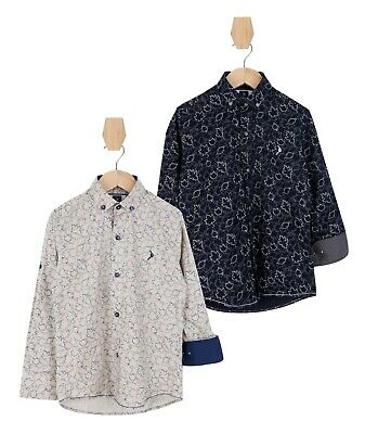 Boys Kids Slim fit Leaves Print Beige and Black Pure Cotton Casual Shirt